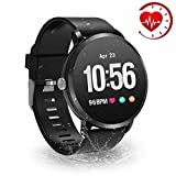YoYoFit HR Fitness Tracker Watch, 2018 Waterproof Activity Tracker with Heart Rate Monitor, Wearable Smart Bracelet Pedometer Watch for Women Men Kids, Black