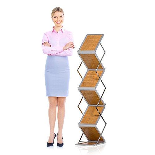 Prospektständer faltbar A4 hoch – Faltbarer Präsentationsständer mit Koffer als Flyerhalter,...