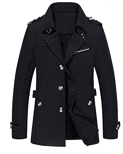Manteau Hommes Pardessus Vêtement Chaud Hiver Velours épais Manteau Noir