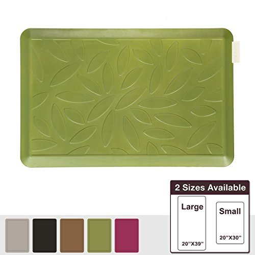 NUVA Salon Antislip Anti-fatigue Mats Antimicrobial >99.9%, Non-toxic Odor, Water Resistant, 30x20x0.75 inch., Various sizes & colors, Commercial Grade:10 years Warranty(Olive Green, Leaf Pattern) by Nuva