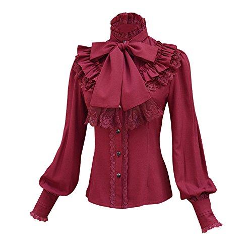 Double Villages Falda Plisada con Volados de Gasa Blusa para Mujer Blusa Lolita Victoriana Retro Blusa (Rojo, XL)