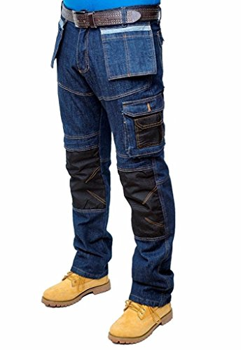 Price comparison product image Prime Mens Work Jeans Trousers Cargo Combat Multi Pocket Army Working Trousers BLJ-02 (BLUE-008,  38W X 30L)