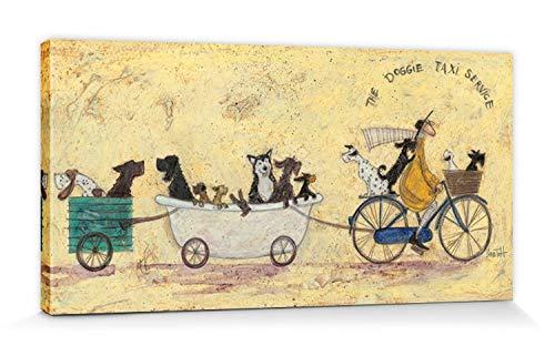 1art1 116751 Sam Toft - Hunde-Taxi Zentrale Poster Leinwandbild Auf Keilrahmen 60 x 30 cm -