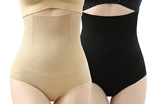 iLoveSIA Femme Culotte Gainante Taille Haute Panty Minceur Armature Body Gaine Amincissante Ventre Plat, 2pcs Lot Noir+ecru, FR 38 40 42