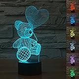 3D Bär Ballon Glühen LED Lampe 7 Farben erstaunliche optische Täuschung Art Skulptur Ferneinstellung Lichter produziert einzigartige Lichteffekte und 3D-Visualisierung für Home Decor-kreative Geschenk