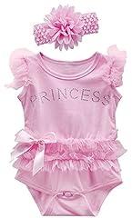 Idea Regalo - Mombebe Body Neonata Bambino Bambina Pizzo Tutu Vestito con Fascia (Rosa, 0-3 Mesi)