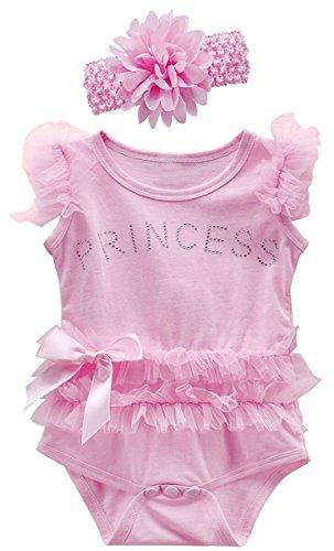 Mombebe bambino ragazze pizzo tutu vestito body con fascia (rosa, 3-6 mesi)