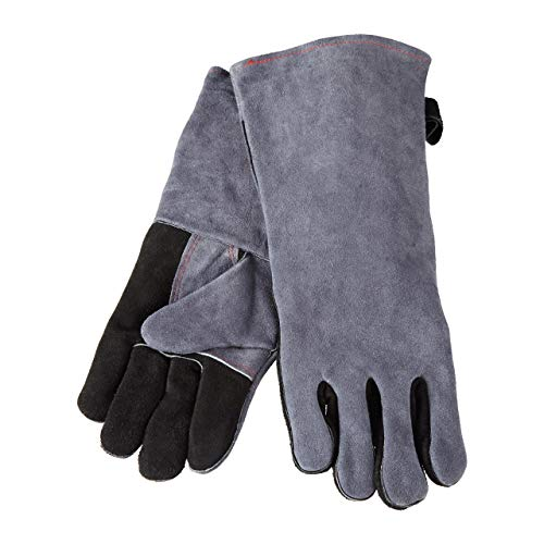 Relaxdays Grillhandschuhe Leder, hitzebeständige Ofenhandschuhe, XL Schutzhandschuhe, grau (Wildleder-handschuhe Rindsleder)
