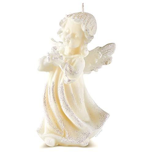 DECORNAC Schutzengel Mädchen Engel Figur mit Taube Duftkerze Vanille Aromatherapie ♥ Handmade ♥ Taufdeko taufgeschenke für Mädchen Taufe Kommunion Hochzeit decko 13cm