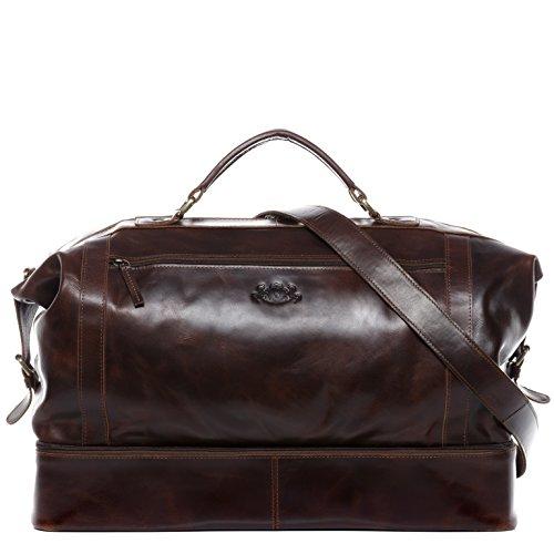 SID & VAIN Reisetasche mit separatem Schuh-Fach Hemden echt Leder Kingston XL groß Sporttasche Weekender Herren braun -