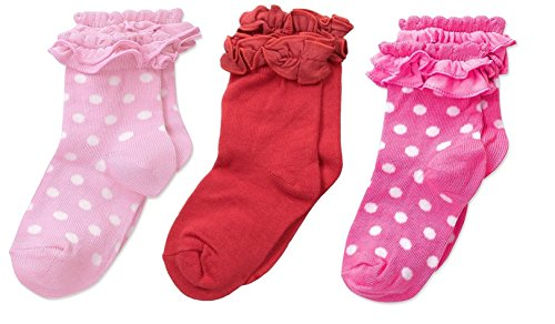 FOOTPRINTS Organic cotton Baby Girls Frill Socks- 12-24 Months - Pack of 3 pairs (Pink,BabyPink, Red)