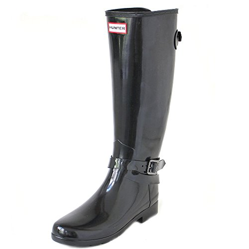 HUNTER W Original Refined Tall ADJ Ankle Strap Gloss Black, Größe:38 Hunter Original Gloss