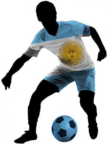 1art1 76224 Fußball - Dribbelnder Fußballer Mit Flaggen-Trikot, Argentinien Wand-Tattoo Aufkleber Poster-Sticker 70 x 50 cm (Fußball-silhouette)