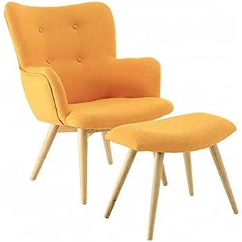Fauteuil vintage tissu et repose-pieds jaune Stockholm-Fauteuil ...