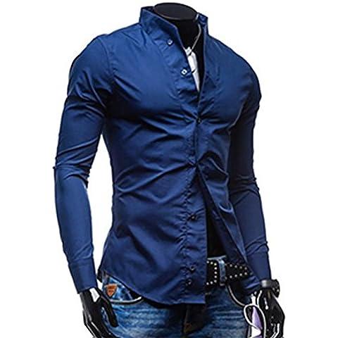 YUYU Collo morbido Stand personalità quotidiana uniformi Tagless camicie , xxl , blue