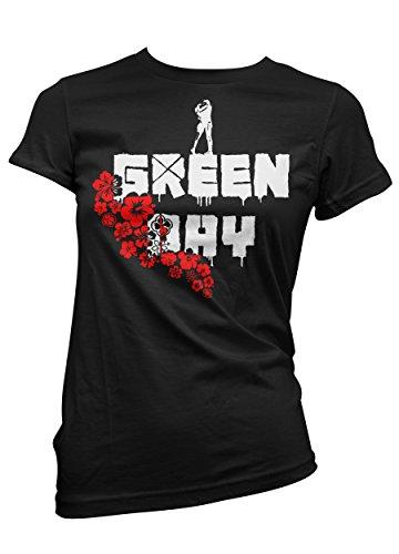 T-shirt Donna Green Day - maglietta rock 100% cotone LaMAGLIERIA,L,Nero