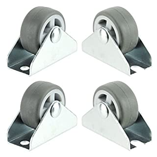 Spares2go Universal Castor Wheels Fixed Plate Fixing 1'' Mini Wheel (32mm, Pack of 4)