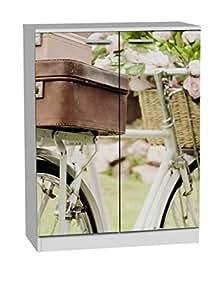 Suarez H307-BCM Vélo Valise Meuble à Chaussures avec 2 Portes Mélamine Blanc 75 x 36 x 100 cm