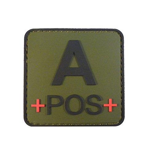 Olive Drab OD Green APOS A+ Blutgruppen Taktisch Tactical Combat PVC Gummi 3D Velcro Aufnäher Patch