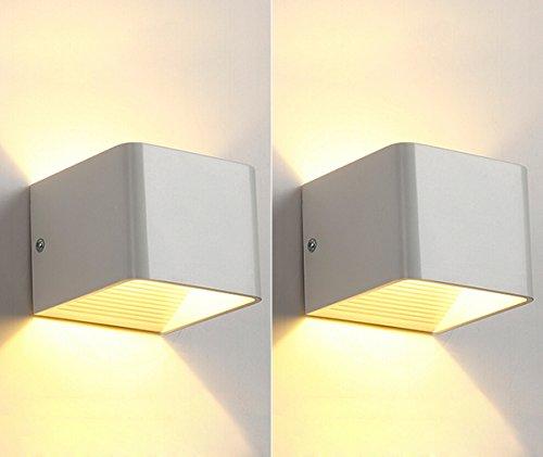 2 Stück Lamker 5W LED Wandleuchte Innen Modern Up und Down Design Wandlampe Aluminium Flurlampe Treppenleuchten für Flur Korridor Wohnzimmer Schlafzimmer Quadrat Warmeiß