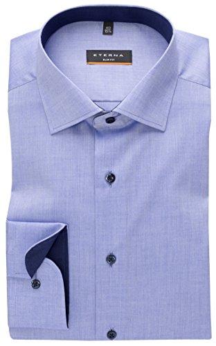 eterna Langarm Hemd Slim Fit Stretch Unifarben Blau