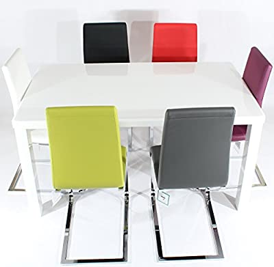 Charles Jacobs 1.5m Dining Table Set with 6 Mixed Colour Chairs, Thick Solid Legs and White High Gloss MDF Top, 6 Seats - Premium Quality