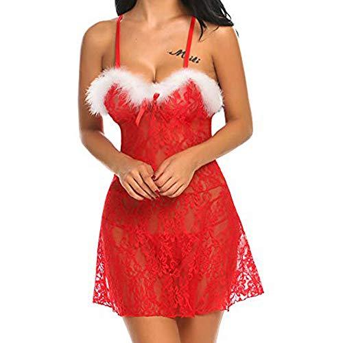 (VENMO Damen Weihnachts Lingerie Sexy Transparent Dessous Set Kostüm Xmas Nikolaus Wäsche mit G-String Gürtel)