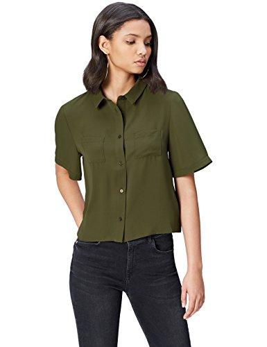 find. Camicia a Manica Corta con Taschini Donna , Verde (Dusty Olive 18-0515), 40 (Taglia Produttore: X-Small)