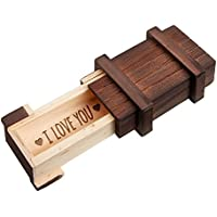 Caja regalo mágica con cerradura rompecabezas y grabado – Love – Amor - De madera oscura – Alhajera para el día de San Valentín – Regalos para hombres y mujeres