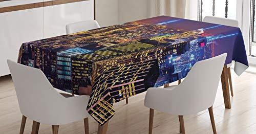 ABAKUHAUS National Tischdecke, 4. Juli Tag USA, Für den Inn und Outdoor Bereich geeignet Waschbar Druck Klar Kein Verblassen, 140 x 170 cm, Lila Gelb