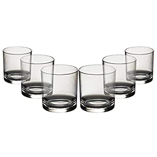Virtually Glass Set of Roltex Unbreakable Reusable Polycarbonate Plastic Whiskey/Juice Glasses (Volume 275ml/9.65 oz Height 8cm Max Diameter 7.4cm) (6)
