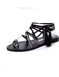 Fond Plat Sandales Fashion tie-su Chaussures pour Femmes National Wind big Verges Sandales Femmes