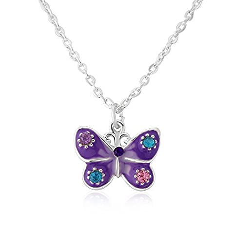 Childrens purple butterfly necklace, cute purple butterfly includes gift bag