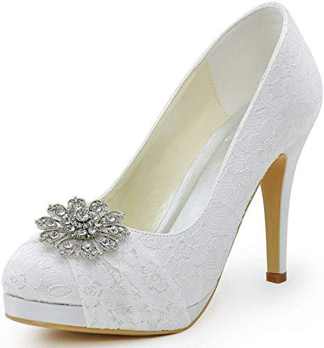Elegantpark hc1413p donna pizzo punta chiusa con plateau tacco a spillo strass partito scarpe da sposa bianco eu 37