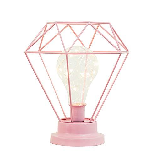 YU-K Diamond kleine Nachtlicht Zimmer sind geschmackvoll in einem Mädchen im Teenageralter Schlafzimmer Mehrbettzimmer Schlafsaal Geschenk Schreibtisch Lampen geschmückt, 21 * 18 * 26 cm, pink, USB