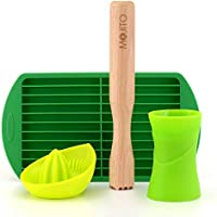 Mojito Kit - Set de fabricación de cócteles - incluye exprimidor de cítricos lima, 30 ml 45 ml doble jigger, hojas de menta de azúcar madera muddler y ...