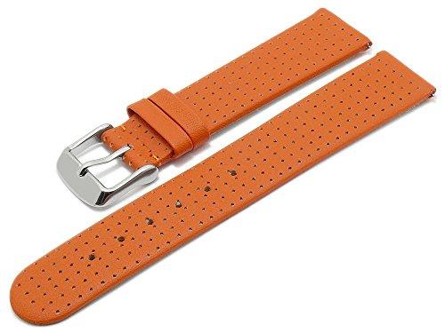 Meyhofer EASY-CLICK Uhrenarmband Adelaide 22mm orange Leder perforiert matt My2heml3019 (Adelaide Leder)