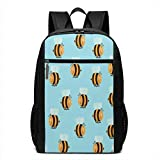 TRFashion Zaino Bumblebee Seamless Pattern 17 Inch Slim Laptop Backpack for Business &Outdoor Activities Schoolbag Book Bag For Men Women Black