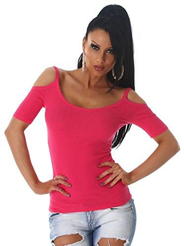 Voyelles Damen Shirt schulterfrei im eleganten Design Pink