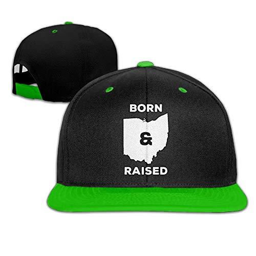 UUOnly Herren/Damen Hip-Hop-Mützen Ohio Born and Raised State Adjustable Snapback Hat (Damen Ohio State Hat)