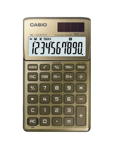 Casio SL-1000TW-GD Design-Solar-Tischrechner mit glanzlackierter Metallfront, 10-stelliges, Big LC-Display, gold