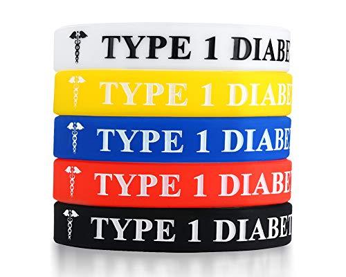 Vnox 5 Stück Silikonkautschuk Type 1 Diabetes Medical Alert Awareness ID Armband Notfall Armband, 5 Farben
