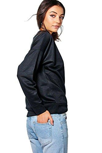 Femmes noires Grand Rylee Choker Neck Sweatshirt Noir