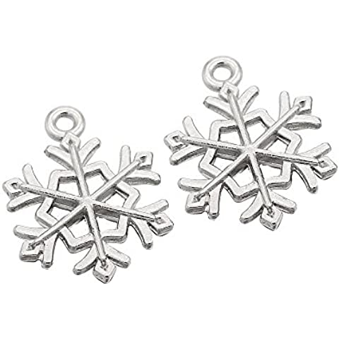 PandaHall- lote de 6pcs/set Tibetain estilo de Navidad de copo de nieve, colgantes charms aleación combinadas, antiguo de oro, 17~ 28x 13~ 22x 1,5~ 2mm, agujero: 1~ 2mm, aleación, antique argent 5,