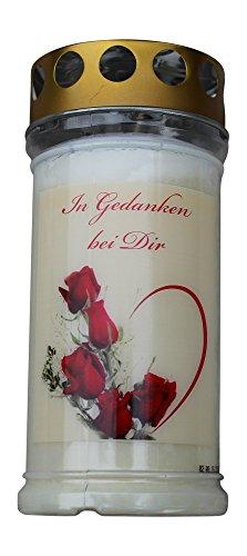Ambrosius Grablicht 5 Tage mit Spruch lange Brenndauer Rosen wetterfest groß Grabkerze Motiv Sturmdeckel farbig (Gedanken)