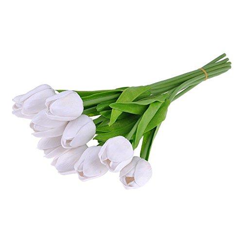 Kompassswc 10 Stück künstlich Blumen Latex Tulpe Blumensträuße mit Blätter Real Touch Brautstrauß Kunstblumen Hochzeit Party Zimmer Büro Bouquet Dekor (Weiß) (Real Touch Blumen Brautstrauß)