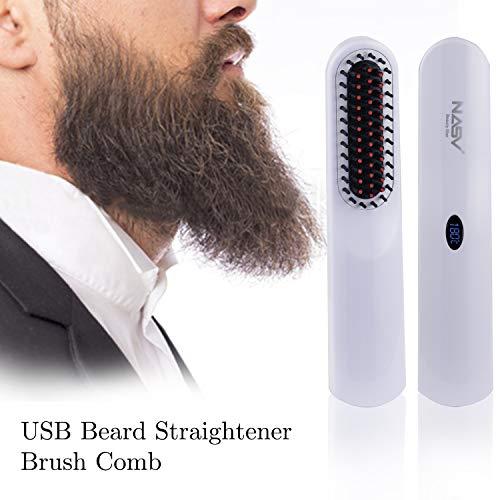 Cepillo Alisador de Barba para Hombres, Plancha Barba Hombre Sin Cable, Temperatura Ajustable, Pantalla...