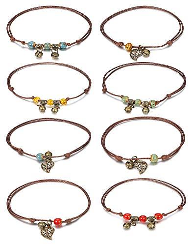Finrzio 8 Stücke Fußkettchen Armbänder Set Für Frauen Mädchen Einstellbare Bell Leaf