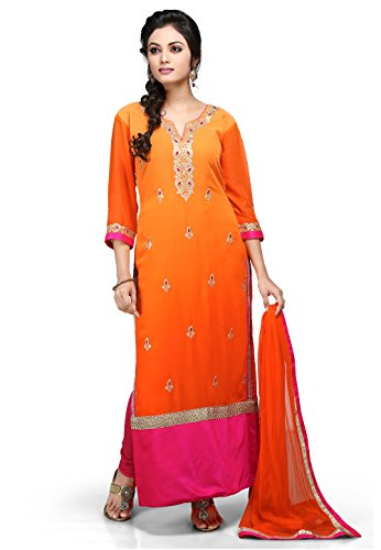 Utsav Fashion Embroidered Straight Cut Georgette Suit In Orange Colour