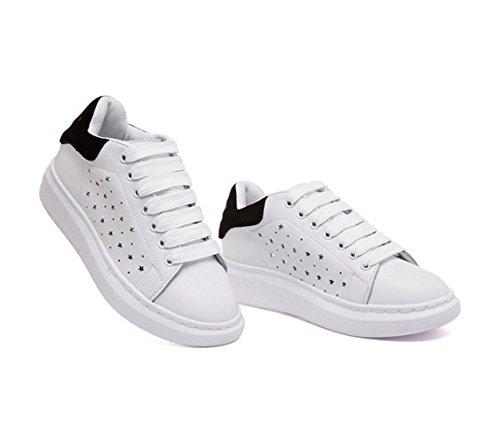 WZG Weiß Frühling und Sommersport Sandalen hohlen Tunnel koreanischen Frauen mit schwerem Boden Leder Spitze flache Schuhe weiße Schuhe White